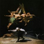 Francisco de Goya (1746-1828)  Witches in the Air  Oil on canvas, 1797-1798  17 1/8 x 12 3/8 inches (43.5 x 31.5 cm)  Museo del Prado, Madrid, Spain